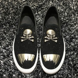 Black Metal Plate Skull Punk Rock Mens Loafers Flats Sneakers Shoes