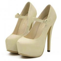 Cream Mary Jane Platforms Stiletto Super High Heels Shoes
