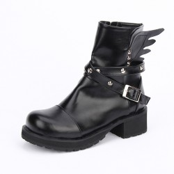 Black Metal Studs Lolita Angel Wings Punk Rock Ankle Boots Shoes