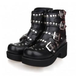 823c327c7b1 Black Metal Studs Lolita Platforms Punk Rock Chunky Heels Boots Creepers  Shoes