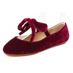 Burgundy Red Velvet Cross Straps Round Head Flats Mary Jane Ballets Ballerina Shoes