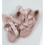 Pink Cross Satin Straps Suede Round Head Flats Mary Jane Ballets Ballerina Shoes