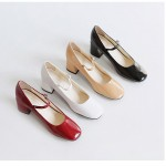 Red Black Beige Patent Blunt Head Block Heels Mary Jane Ballets Ballerina Shoes