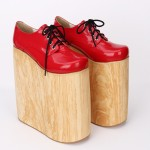 Red Patent Lolita Super Platforms Punk Rock Chunky Heels Oxfords Creepers Shoes