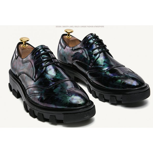 Blue Green Glossy Patent Leather Thick Sole Lace Up Oxfords Flats Dress Shoes
