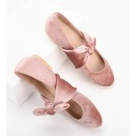 Pink Velvet Bow Round Head Flats Mary Jane Ballets Ballerina Shoes