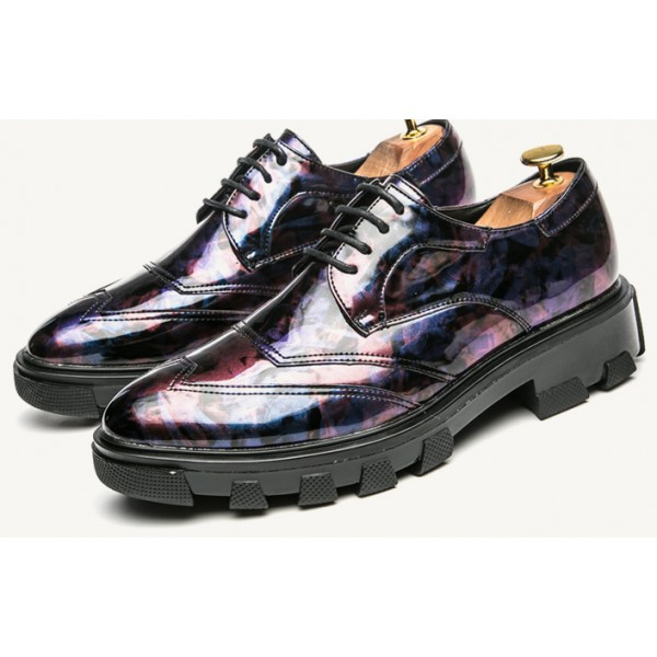 Purple Blue Glossy Patent Leather Thick Sole Lace Up Oxfords Flats Dress Shoes