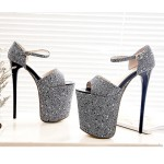 Silver Glitter Bling Bling Platforms Stiletto Super High Heels Shoes