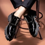 Black Glossy Patent Leather Thick Sole Skull Punk Rock Zipper Oxfords Flats Dress Shoes