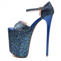 Blue Glitter Bling Bling Platforms Stiletto Super High Heels Shoes
