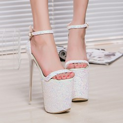 White Glitter Bling Bling Platforms Stiletto Super High Heels Shoes