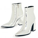 Silver Mirror Metallic Point Head Block High Heels Ankle Boots Shoes
