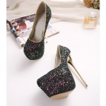 Black Glitter Bling Bling Platforms Stiletto Gold Super High Heels Shoes