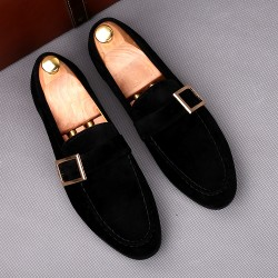 Black Giant Buckle Suede Mens Dappermen Dapper Men Loafers Flats Shoes