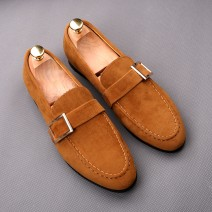 LAST PAIR - Brown Giant Buckle Suede Mens Loafers Flats Shoes EU 45 46