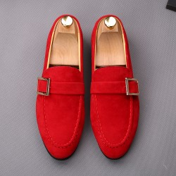 Red Giant Buckle Suede Mens Dappermen Dapper Men Loafers Flats Shoes