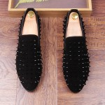 Black Suede Spike Studs Punk Rock Mens Loafers Flats Dress Shoes