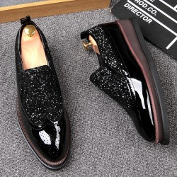 Black Patent Glittering Punk Rock Mens Loafers Flats Thick Sole Dress Shoes