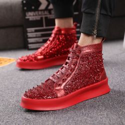 Red Glitter Bling Bling Spikes Lace Up High Top Mens Sneakers Shoes