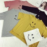 Yellow Pink Black White Grey Happy Smiley Face Short Sleeves T Shirt