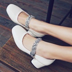 White Patent Diamonte Crystals Mary Jane Ballets Ballerina High Heels Shoes