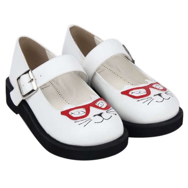 White Cat Face Sunglasses Mary Jane Lolita Thick Sole Platforms Creepers Flats Shoes