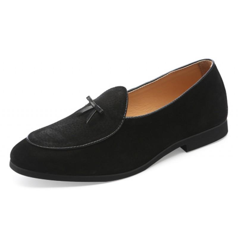 Black Suede Mini Bow Mens Oxfords Flats Loafers Dappermen Dapper Men