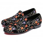 Black Colorful Vintage Flowers Mens Oxfords Loafers Dress Shoes Flats