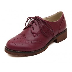 Burgundy Purple Leather Lace Up Vintage Womens Oxfords Flats Shoes