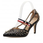 Black Metal Spikes Studs Point Head Stiletto Super High Heels Shoes