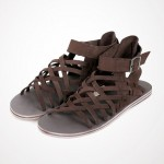 Brown Strappy Cross Straps High Top Mens Gladiator Roman Sandals