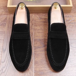 Black Suede Point Head Mens Flats Loafers Dapper Mens Dappermen Shoes