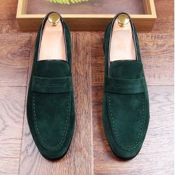 Green Suede Point Head Mens Flats Loafers Dapper Mens Dappermen Shoes
