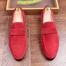 LAST PAIR - Red Suede Point Head Mens Flats Loafers Dress Shoes EU 44 45