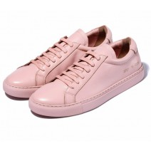 Pink Baby Lace Up Leather Womens Sneakers Shoes