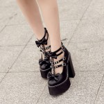 Black Bow Spikes T Strap Mary Jane Punk Rock Platforms High Heels Shoes
