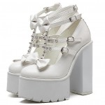 White Bow Spikes T Strap Mary Jane Punk Rock Platforms High Heels Shoes