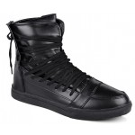 Black Straps Strappy High Top Mens Sneakers Shoes Boots