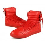 Red Straps Strappy High Top Mens Sneakers Shoes Boots