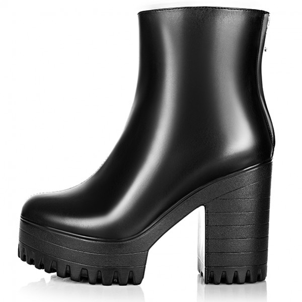 Black Military Ankle Chunky Cleated Sole Block High Heels Platforms Boots Shoes