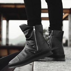 Black Zippers High Top Mens Sneakers Shoes Boots