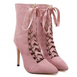 Pink Suede Point Head Ballerina Lace Up Rider Stiletto High Heels Boots Shoes