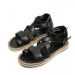 Black Cross Leather Ankle Straps Mens Gladiator Roman Platforms Sandals Shoes