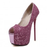 Purple Glitter Bling Bling Platforms Stiletto Peep Toe Super High Heels Shoes