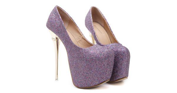 Purple Glitter High Heels