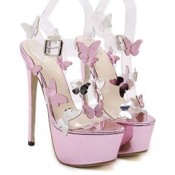 Purple Metallic Butterfly Platforms Stiletto Super High Heels Sandals Shoes