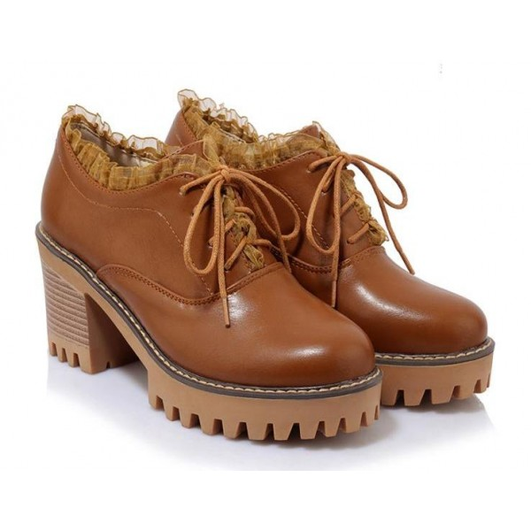 Brown Lace Ruffles Trim Lace Up Block Heels Women Oxfords Shoes