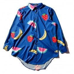 Blue Colorful Fruits Long Sleeves Chiffon Blouse Oversized Boy Friend Shirt