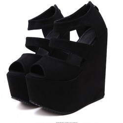 Black Suede Peep Toe Strappy Platforms Wedges Sandals Shoes
