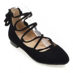 Black Suede Point Head Strappy Gladiator Ballerina Ballets Flats Shoes